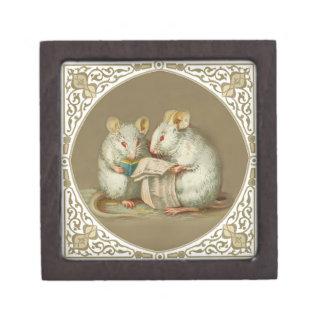 Two Cute Victorian Anthropomorphic Mice Reading Keepsake Box