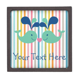 Two Cute Whales in Love Jewelry Box