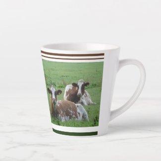 Two Cute White-Brown Cows Design Latte Mug