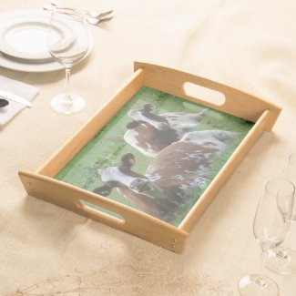 Two Cute White-Brown Cows Serving Tray