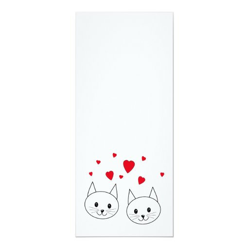 Two Cute White Cats with Red Hearts. 4x9.25 Paper Invitation Card