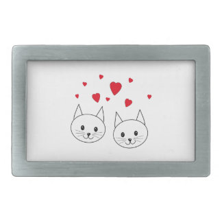 Two Cute White Cats with Red Hearts. Rectangular Belt Buckles