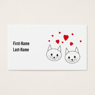 Two Cute White Cats with Red Hearts. Business Card