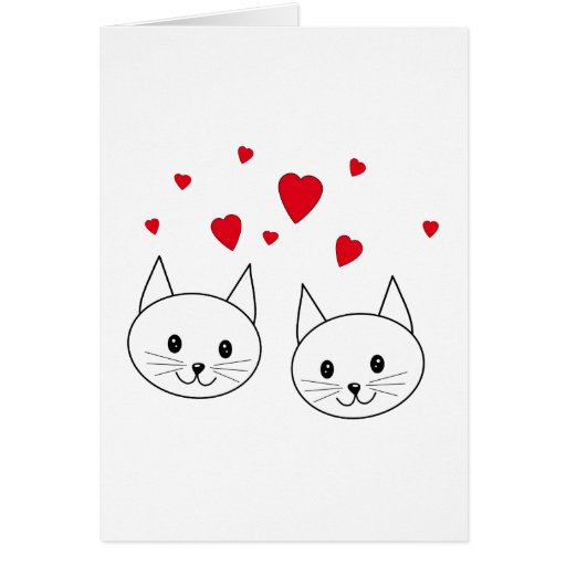 Two Cute White Cats with Red Hearts. Greeting Cards