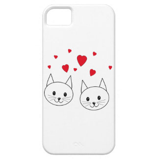 Two Cute White Cats with Red Hearts. iPhone SE/5/5s Case