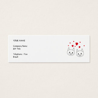 Two Cute White Cats with Red Hearts. Mini Business Card