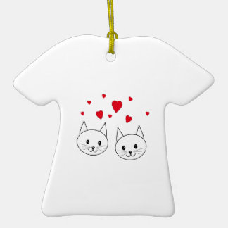 Two Cute White Cats with Red Hearts Ornaments