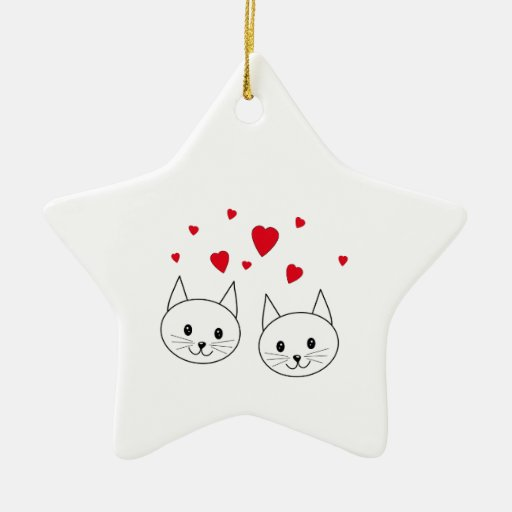 Two Cute White Cats with Red Hearts. Christmas Ornaments