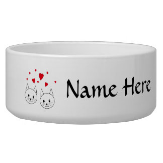 Two Cute White Cats with Red Hearts. Pet Water Bowl