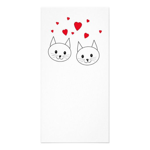 Two Cute White Cats with Red Hearts. Photo Cards
