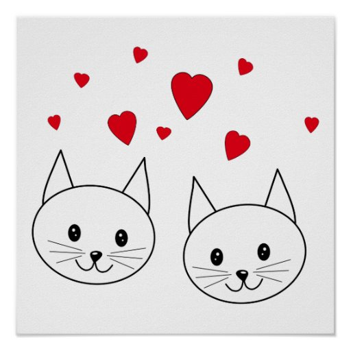 Two Cute White Cats with Red Hearts. Print