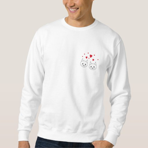 Two Cute White Cats with Red Hearts. Sweatshirt