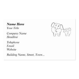 Two Cute White Elephants. Cartoon. Business Card
