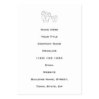 Two Cute White Elephants. Cartoon. Large Business Card