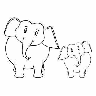 Two Cute White Elephants. Cartoon. Standing Photo Sculpture