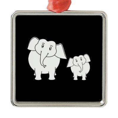 Two Cute White Elephants on Black. Cartoon. Custom Christmas Tree Ornament ...