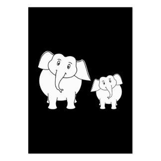 Two Cute White Elephants on Black. Cartoon. Large Business Card