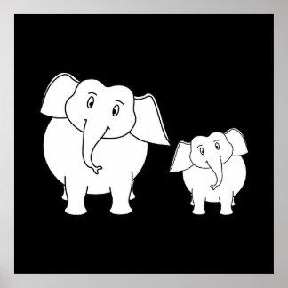 Two Cute White Elephants on Black. Cartoon. Print