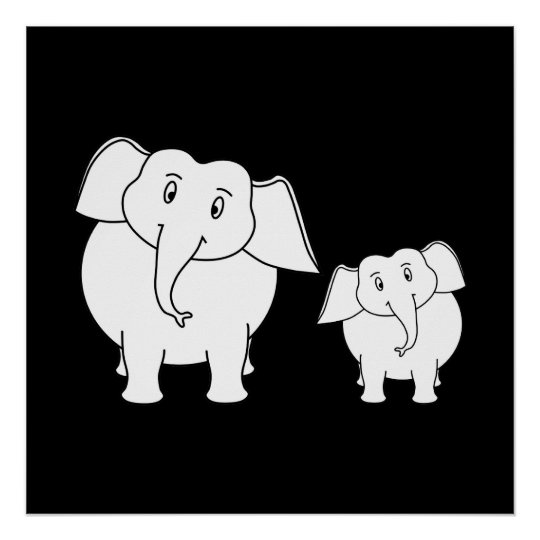 Two Cute White Elephants on Black. Cartoon. Poster