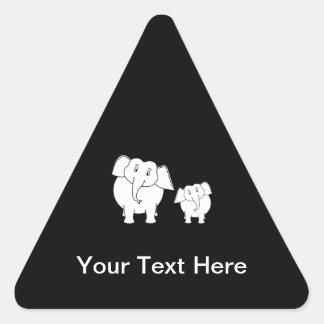 Two Cute White Elephants on Black. Cartoon. Triangle Sticker