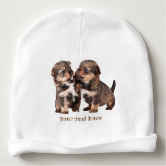 Two Cute Yorkshire Puppies Baby Beanie