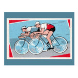 Two Cyclists Vintage Print Postcards