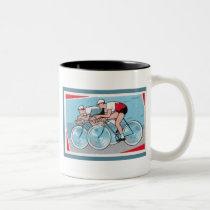 Two Cyclists Vintage Print Two-Tone Coffee Mug