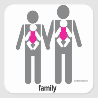 Two Dads and Two Daughters Square Sticker