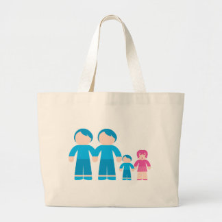 Two dads male Gay couple Family Large Tote Bag