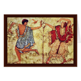 Two Dancers Detail By Etruskischer Meister Greeting Card