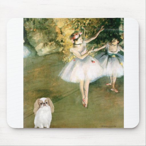 Two Dancers - Japanese Chin (L1) Mouse Pad