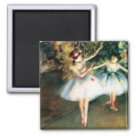 Two Dancers on a Stage by Degas 2 Inch Square Magnet
