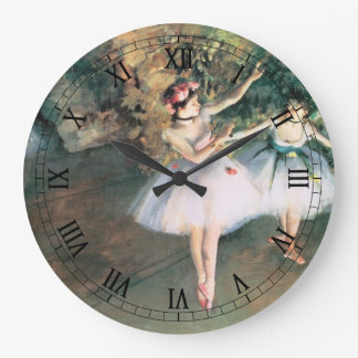 Two Dancers on a Stage by Edgar Degas, Vintage Art Large Clock