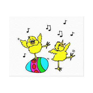 two dancing chick and easter egg.png canvas print