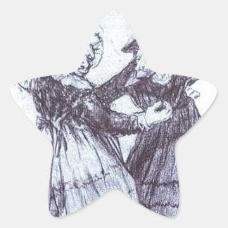 Two Dancing Old Friends by Francisco Goya Star Sticker