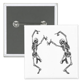 Two Dancing Skeletons Halloween Button