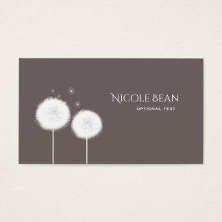 Two Dandelions Taupe Rustic Business Card