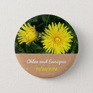Two Dandelions Wedding favour button