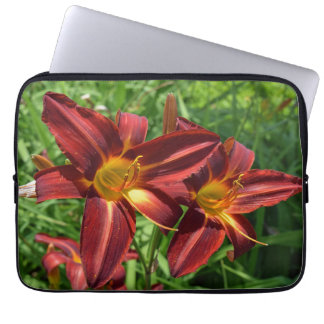 Two dark red lilies laptop sleeve
