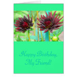 Two Dark Red Wine-colored Dahlias Card at Zazzle