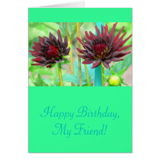TWO DARK RED WINE-COLORED DAHLIAS CARD