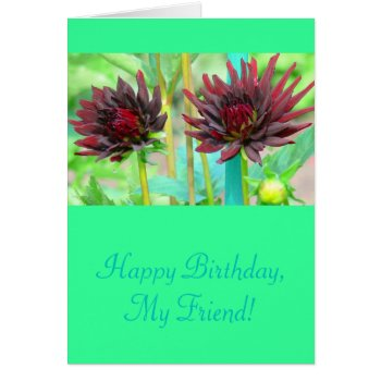 Two Dark Red Wine-colored Dahlias Card by whatawonderfulworld at Zazzle