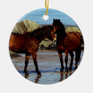 Two dartmoor ponies on remote beach in south devon Double-Sided ceramic round christmas ornament