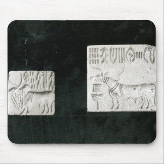 Two decorated seals depicting a zebu and a mouse pad