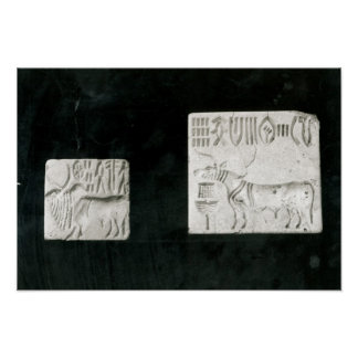 Two decorated seals depicting a zebu and a print