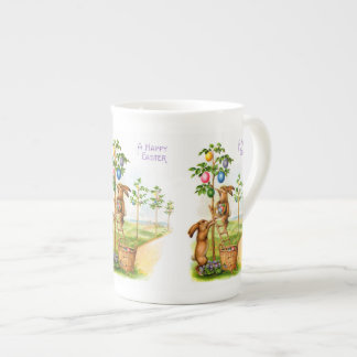Two Decorating Rabbits Tea Cup