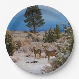 TWO DEER IN SNOW 9 INCH PAPER PLATE
