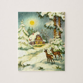 Two deer in the snow jigsaw puzzle