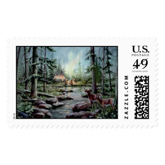 TWO DEER WATCH by SHARON SHARPE Postage Stamps