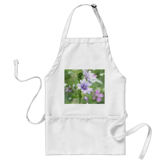 Two Delicate Mallow Flowers Adult Apron